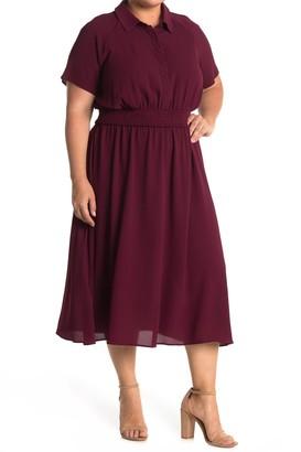 London Times Smocked Waist Shirt Dress (Plus Size)