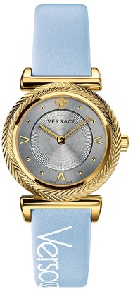 Versace V-Motif Vintage Stainless Steel Leather Strap Watch