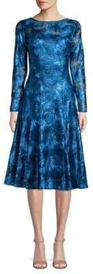Tahari Arthur S. Levine Embroidered Illusion Floral Fit-&-Flare Dress