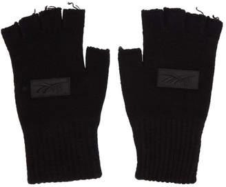 Reebok x Victoria Beckham Black Wool Logo Fingerless Gloves