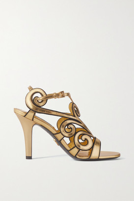 Prada Metallic Leather And Suede Sandals - Gold
