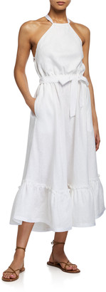 Miguelina Amanda Open-Back Linen Halter Dress