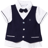 Mayoral White Shirt and Navy Waistcoat and Bow Tie