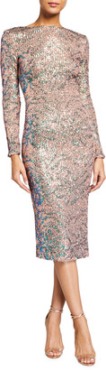 Dress the Population Emery Sequin Leaf Pattern Long-Sleeve Dress