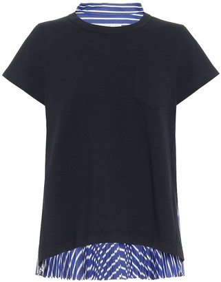 Sacai Cotton jersey and poplin T-shirt