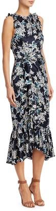 Cinq à Sept Mirna Silk Sleeveless Ruffled Print Dress