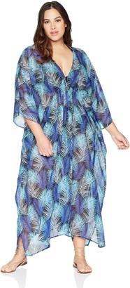 Coastal Blue Women's Plus Size Swimwear Maxi Caftan Cover Up