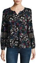 Liz Claiborne Long Sleeve Scoop Neck Floral T-Shirt-Womens