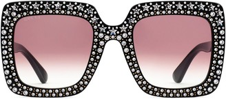 Gucci Oversized Square Sunglasses With Crystals