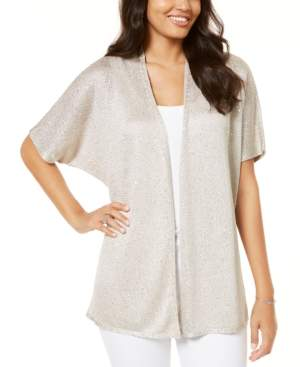INC International Concepts Inc Petite Sequinned Drape-Front Cozy Cardigan, Created for Macy's