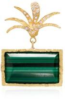 Roxy Elhanati 18kt yellow gold palm malachite diamond earring