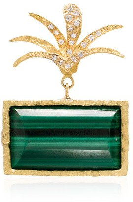 Elhanati 18kt yellow gold Roxy palm malachite diamond earring