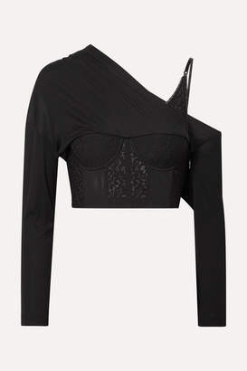 Alexander Wang Draped Modal-jersey, Lace And Tulle Top - Black