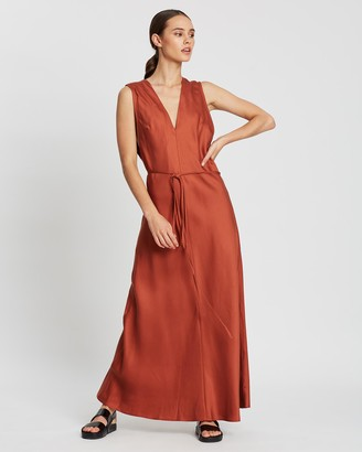 BONDI BORN Women's Red Maxi dresses - Fluid V-Neck Dress - Size One Size, S at The Iconic