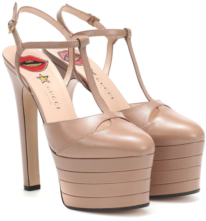 c14ab2670b9 Angel Leather platform pumps