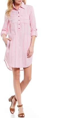 MICHAEL Michael Kors Summer Stripe Roll-Tab Sleeve Collared Front Pocket Shirt Dress