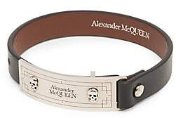 Alexander McQueen Men's Skull Leather ID Bracelet