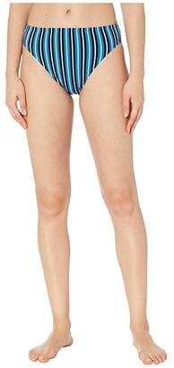 MICHAEL Michael Kors Marine Stripe High-Waisted High Leg Bikini Bottoms (Vintage Blue) Women's Swimwear