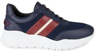Bally Web Athletic Striped Leather Sneakers