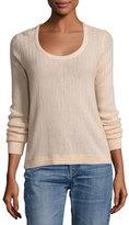 Rag & Bone Estelle Herringbone Cashmere Scoop-Neck Sweater, Rose Dust