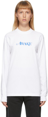 Awake NY SSENSE Exclusive White Logo Long Sleeve T-Shirt