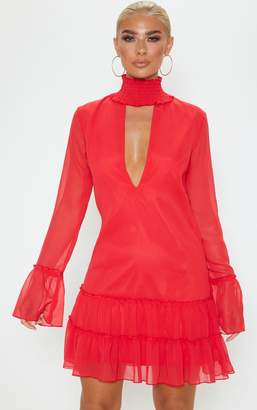 PrettyLittleThing Red Shirred Neck Long Sleeve Chiffon Shift Dress