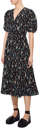 Erdem Floral Print Silk Button-Front Dress
