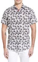 Stone Rose Men's Trim Fit Palm Tree Print Sport Shirt