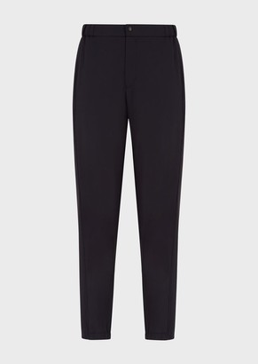 Emporio Armani Natural Stretch Canvas Trousers With Elasticated Cuffs