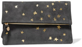 Clare Vivier Margot Metallic Printed Suede Clutch - Anthracite