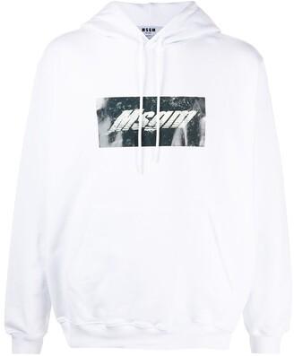 MSGM Box Logo-Print Cotton Hoodie
