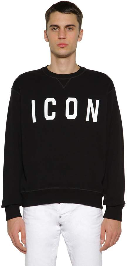 DSQUARED2 ICON PRINTED COTTON JERSEY SWEATSHIRT