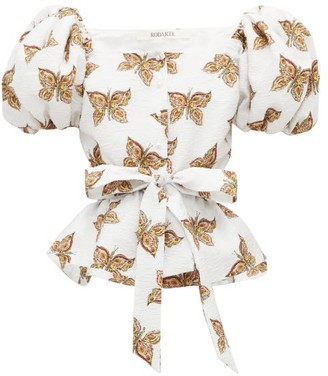 Rodarte Butterfly-print Cloque Top - White Multi
