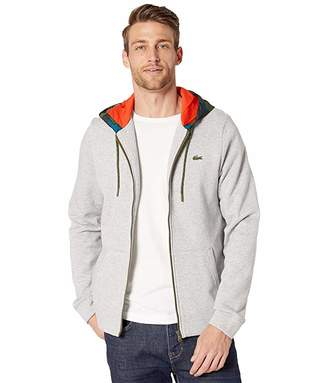 Lacoste Long Sleeve Full Zip Fleece Sweatshirt w/ Camo Hood (Silver Chine/Black/Illumination/Bush/Geranium) Men's Clothing