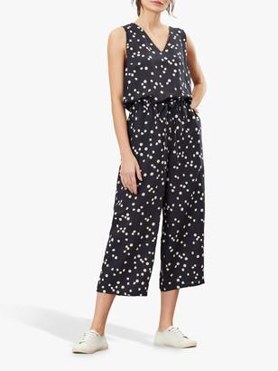 Joules Angela Daisy Print Sleeveless Jumpsuit, Black