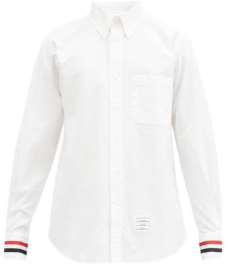 Thom Browne Grosgrain-trimmed Cotton Oxford Shirt - White