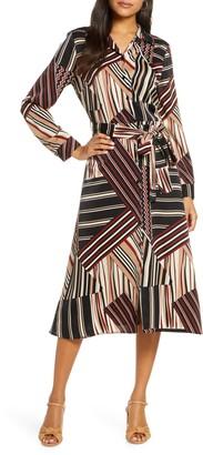 1901 Stripe Tie Waist Midi Shirtdress
