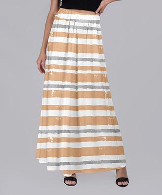 Beyond This Plane Women's Maxi Skirts WHT - Brown & White Stripe Maxi Skirt - Women & Plus