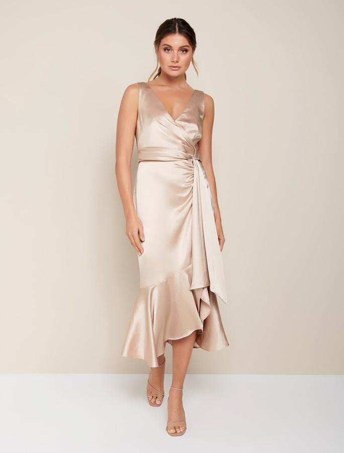 Forever New Gracelyn Satin Wrap Midi Dress - Champagne - 10