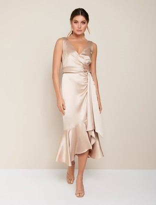 Forever New Gracelyn Satin Wrap Midi Dress - Champagne - 16