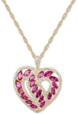 """Macy's Certified Ruby (2-1/4 ct. t.w.) & Diamond (1/2 ct. t.w.) Heart 18"""" Pendant Necklace in 14k Gold"""
