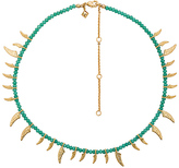 Rebecca Minkoff Tiki Beaded Spike Necklace in Metallic Gold.