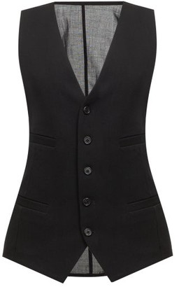 Ann Demeulemeester Sheer Panel Virgin-wool Twill Waistcoat - Black