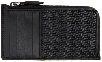 Ermenegildo Zegna Black Leather Pelletessuta Zipped Card Holder