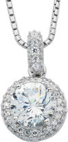 JCPenney FINE JEWELRY 100 Facets by DiamonArt Cubic Zirconia & Diamond-Accent Framed Pendant Necklace
