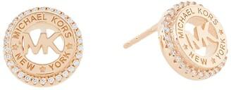 Michael Kors Sterling Silver Dainty Logo Stud Earrings (14K Rose Gold Plated) Earring