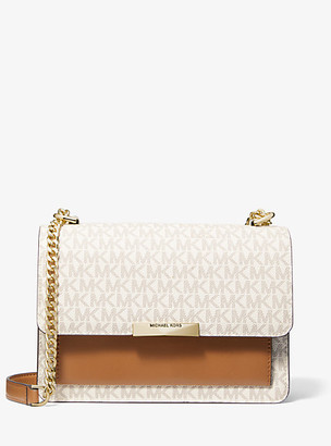 MICHAEL Michael Kors MK Jade Large Logo and Leather Crossbody Bag - Vanilla/acorn - Michael Kors