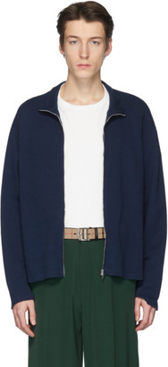 Our Legacy Navy 70s Shrunken Zip-Up Sweater