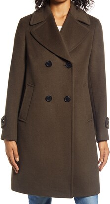 Double Breasted Wool Blend Twill Coat