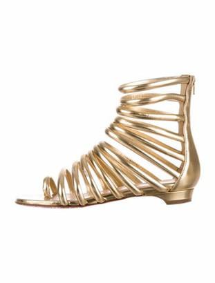 Christian Louboutin Catchetta Leather Gladiator Sandals Gold
